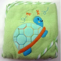 OWEN Baby Terry Hooded Towel with Washcloth (GREEN)