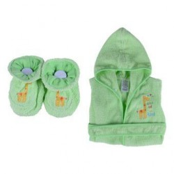 OWEN Baby Bathrobe and Booties Set (GREEN)