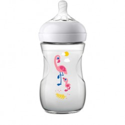 Philips Avent Natural Bottle Decorated Bottle 9oz/260ml (Single Pack) - Flamingo Design