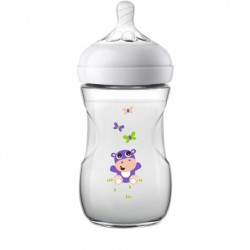 Philips Avent Natural Bottle Decorated Bottle 9oz/260ml (Single Pack) - Hippo Design
