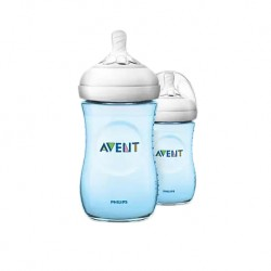 Philips Avent Natural Bottle 9oz/260ml (Blue) Twin Pack