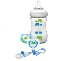 Philips Avent Natural Slow Flow Bottle Elephant Gift Set 9oz/260ml (Boy)