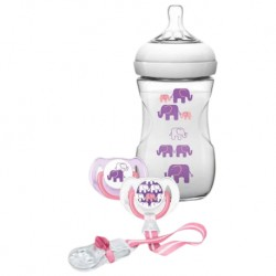 Philips Avent Natural Slow Flow Bottle Elephant Gift Set 9oz/260ml (Girl)