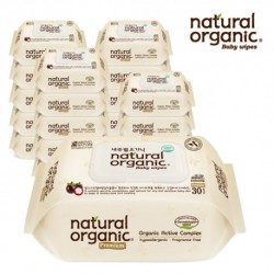 Natural Organic Baby Wipes - Premium Embossing Captype Travel Pack 30 Sheets (Buy 18 Packs FREE 2 Packs)