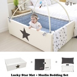 Ggumbi Lucky Star Transformation Bumper Bed + 3 Layer Muslin Bedding Set
