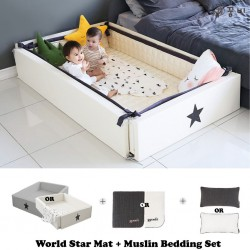 Ggumbi World Star Transformation Bed + 3 Layer Muslin Bedding Set