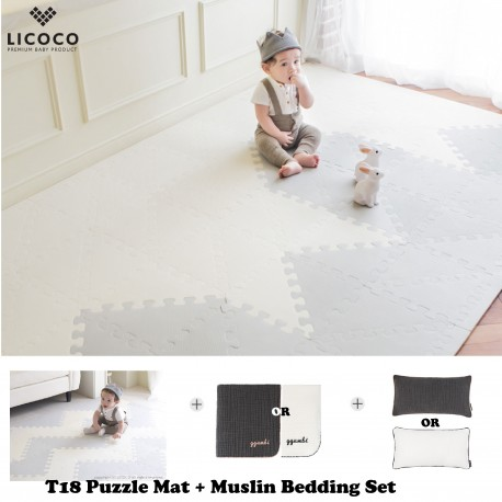 Ggumbi Licoco Smart Puzzle Playroom Mat + 3 Layers Muslin Bedding Set