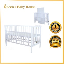 Royalcot R295 Multi Function Wooden Baby Cot (White) Foldable Cot with Height Adjustable Layer