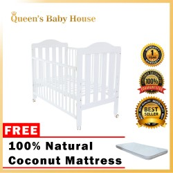 Royalcot R8312 Multi Function Wooden Baby Cot (White) with Height Adjustable FREE 100% Natural Coconut Mattress