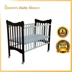 Royalcot R411Multi Function Wooden Baby Cot (White Mahogany) with Height Adjustable Layer