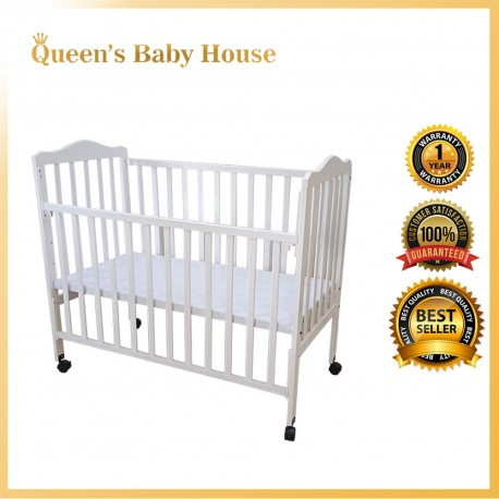 Royalcot R311 Multi Function Wooden Baby Cot (White) with Height Adjustable Layer