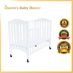 Royalcot R474 Multi Function Wooden Baby Cot (White) with Height Adjustable Layer