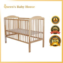 Royalcot R301 Multi Function Wooden Baby Cot (Light Honey) with Height Adjustable Layer size (50 x 100cm)