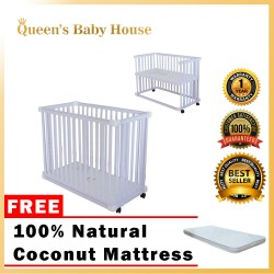 Royalcot R8001 Multi Function Wooden Baby Cot (White) with Height Adjustable Layer with FREE 100% Natural Coconut Mattress Fibre