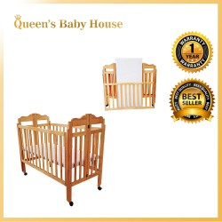 Royalcot R299 Multi Function Wooden Baby Cot (Neutral) with Height Adjustable Layer size (60 x 120cm)