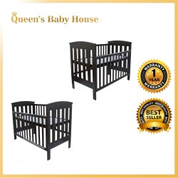 Royalcot R8494 Multi Function Wooden Baby Cot Mahogany with Height Adjustable Layer + Latex Pillow