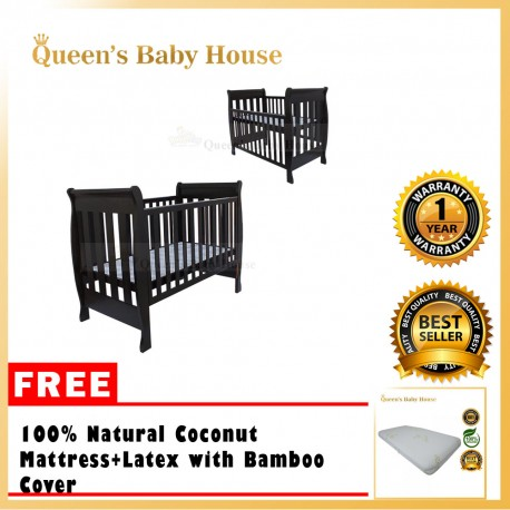 Royalcot R594 Multi Wooden Baby Cot (Mahogany) with Height Adjustable FREE Coconut Mattress + Latex