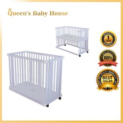 Royalcot R8001 Multi Function Wooden Baby Cot White with Height Adjustable Layer saiz 24'x48'