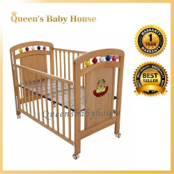 Royalcot R458 Multi Function Wooden Babycot (Neutral) with Height Adjustable Layer