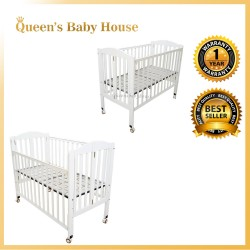 Royalcot R298 Multi Function Wooden Babycot (White/Metal Base) with Height Adjustable Layer