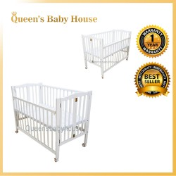 Royalcot R313 (White) Foldable Babycot with Height Adjustable Layer
