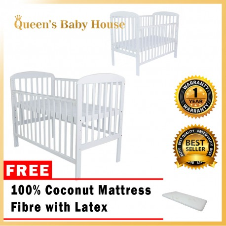 Royalcot R8309 White Babycot COMBO Coconut Mattress Fibre with Latex
