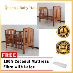 Royalcot R610 Multi Function Wooden Baby Cot (Light Oak) with Adjustable Combo with Coconut Mattress + Latex
