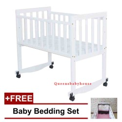 Baby Cradle 11 White +FREE Bedding Pink Mickey