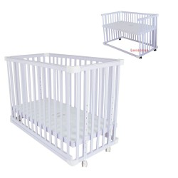 Royalcot R8002 Multi Function Large Wooden Baby cot Side Bed (White) with Adjustable Layer size 70x130cm