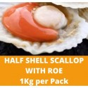 Half Shell Scallop with Roe 1kg per Pack (Sold per Pack)
