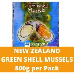 New Zealand Green Shell Mussels (Sanford) 800g per pack (Sold per Pack)