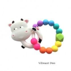 Teether Joy Pastel Duo Ring - Cow