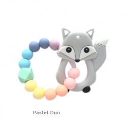 Teether Joy Pastel Duo Ring - Grey Fox