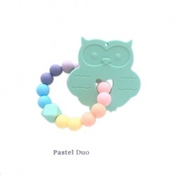 Teether Joy Pastel Duo Ring - Mint Owl