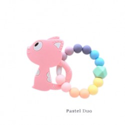 Teether Joy Pastel Duo Ring - Pink Cat