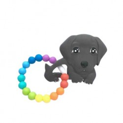 Teether Joy Vibrant Duo Ring (Black Labrador)