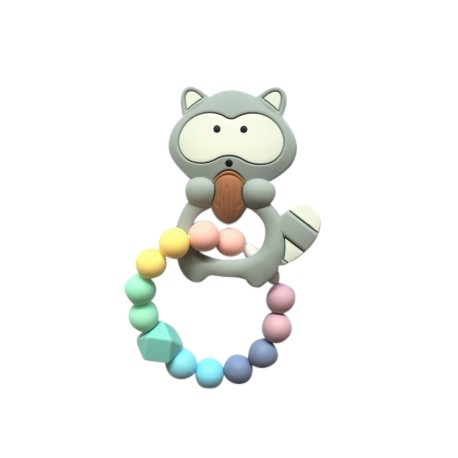 Teether Joy Pastel Duo - Grey Raccoon Ring
