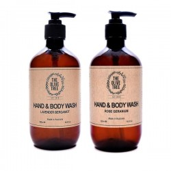 The Olive Tree Hand & Body Wash Bundle (1 x Rose Geranium, 1 x Lavender Bergamot)