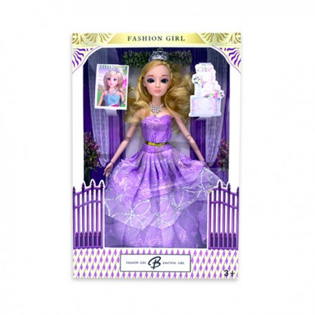 """Toys Funtastic 11"""" Wedding Doll Dress Up Gown Gift Set - Purple"""