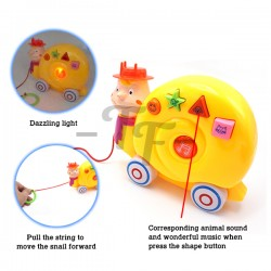 Toys Funtastic Infant Cartoon Animals Muscial Pull Toys -Snail (Yellow)