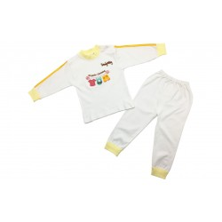 Trendyvalley Organic Cotton Long Sleeve Baby Shirt/Pants Sleep Wear Pyjamas (White) [PREMIUM]