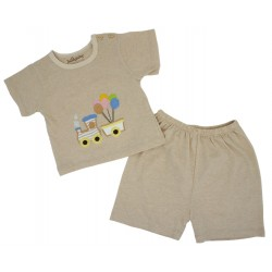 ORGANIC COTTON SHORT SLEEVE BABY SHIRT AND PANTS (TRAIN)