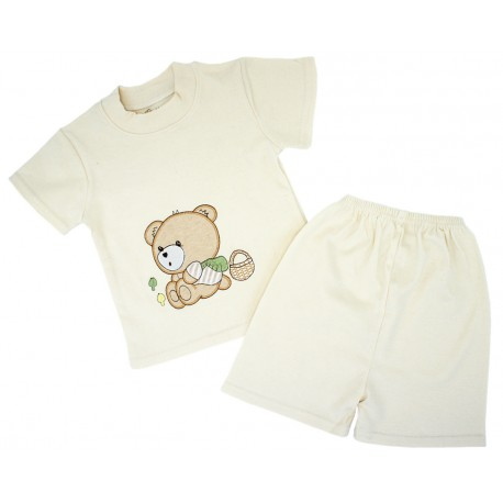 Trendyvalley Organic Cotton Short Sleeve Baby Shirt and Short Pants (Bear)