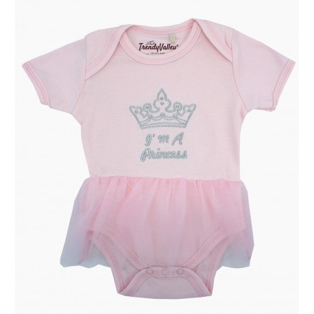 Trendyvalley Organic Cotton Baby Girl Romper (I Am A Princess)