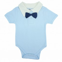 Trendyvalley Organic Cotton Baby Romper (Blue Bow Tie)