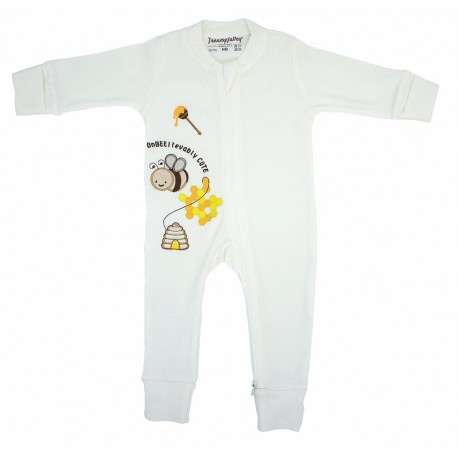 Trendyvalley Organic Cotton Baby Zip One Piece Sleep Bag with Hands and Feet Covered (Bee)