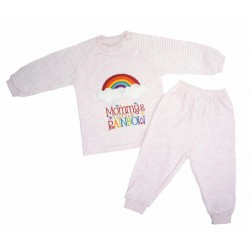 Trendyvalley Organic Cotton Long Sleeve Pyjamas Set (Pink Rainbow)