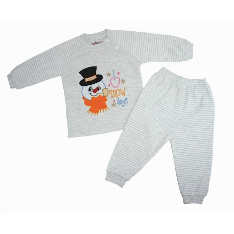 Trendyvalley Organic Cotton Long Sleeve Pyjamas Set (Snowman)