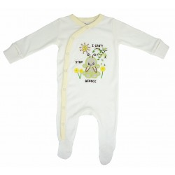 Trendyvalley Organic Cotton One Piece Suit Romper with Hands and Feet Covered (Caterpillar)