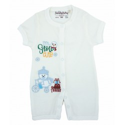 Trendyvalley Organic Cotton Short Sleeve Short Pants Baby Romper (Blue Snow Bear)